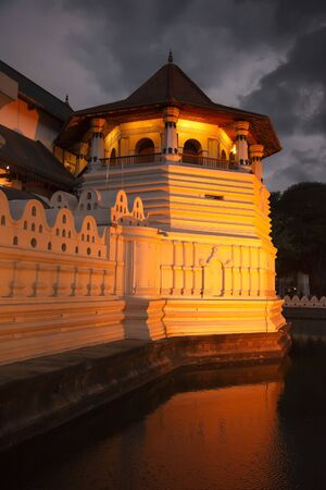 shrine: Very important Buddhist shrine - Temple of the Tooth. Evening. Sri Lanka