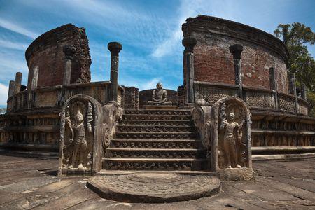 Ancient Vatadage (Buddhist stupa) in Pollonnaruwa, Sri Lanka photo
