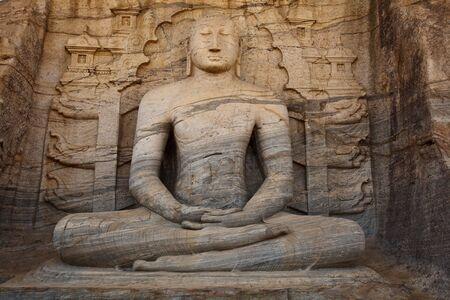 vihara: Ancient sitting Buddha image, Gal Vihara, Polonnaruwa, Sri Lanka