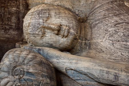 vihara: Close-up of Reclining Buddha, Gal Vihara, Polonnaruwa, Sri Lanka