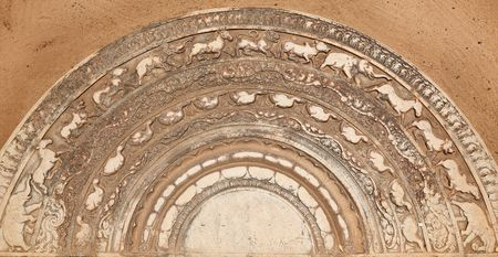 dagoba: Ancient moonstone at the entrance of Buddhist dagoba (stupa). Anuradhapura, Sri Lanka