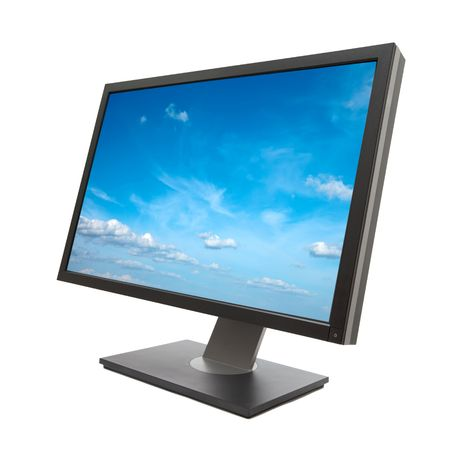flat panel monitor: Computer monitor isolated on white background