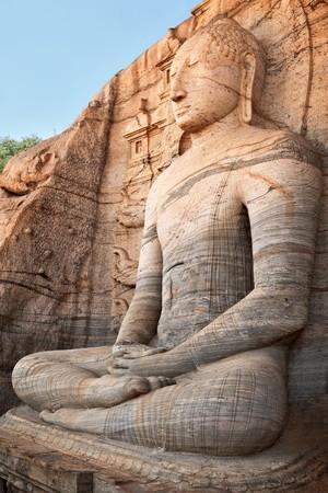 vihara: Ancient sitting Buddha image, Gal Vihara, Polonnaruwa, Sri Lanka  Stock Photo
