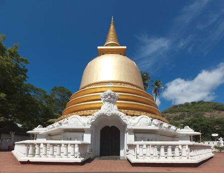the stupa: Buddhist dagoba (stupa) close up in Golden Temple, Dambulla, Sri Lanka