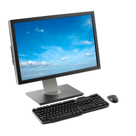 flat panel monitor: Computer workstation ( monitor, keyboard, mouse) isolated on white background