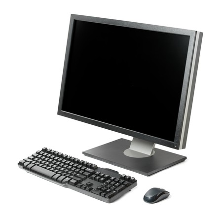 postazione lavoro: Computer workstation (monitor, tastiera, mouse) isolato su sfondo bianco Archivio Fotografico