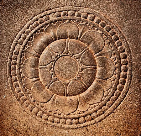 lotus temple: Stylized lotus carved on stone Stock Photo