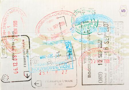 Passport page with immigration stamps close up photo