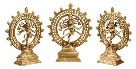 Statues of indian hindu god Shiva Nataraja - Lord of Dance isolated on white photo
