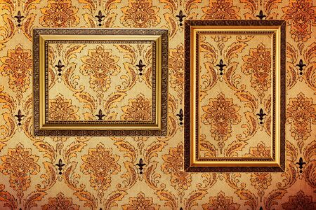 Vintage Gold Plated Picture Frames On Retro Wallpaper Background