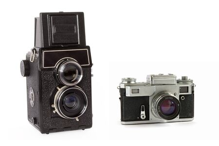 rangefinder: Old rangefinder and  twin-lens reflex large format film cameras isolated on white background