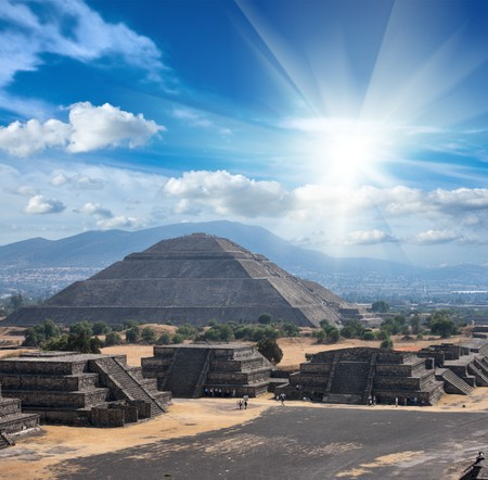 Pyramid of the Sun. Teotihuacan. Mexico. View from the Pyramid of the Moon. Stock Photo