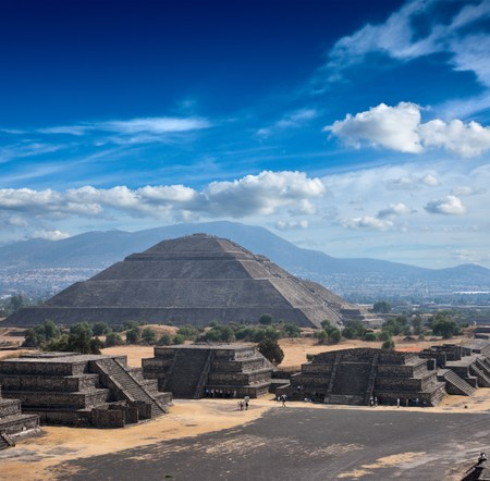 ruin: Pyramid of the Sun. Teotihuacan. Mexico. View from the Pyramid of the Moon. Stock Photo
