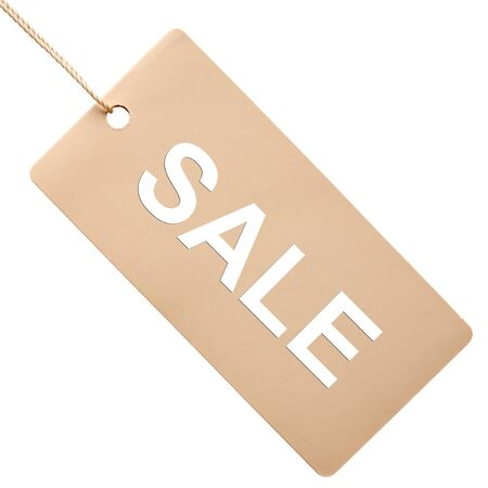 sale tags: White paper tag isolated on white background