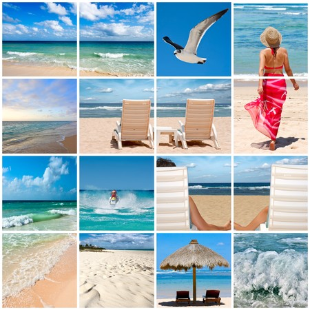 Collage of phtoos about beach vacations photo