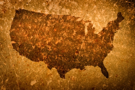 old rustic map: Old grunge map of United States of America