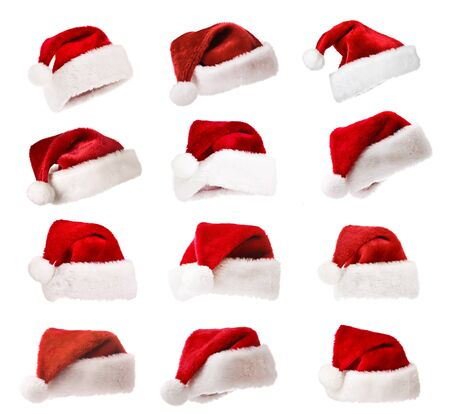 Set of Santas red hats isolated on white