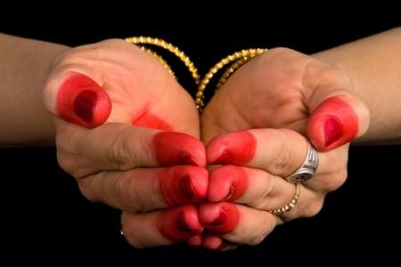 hasta: Woman hands showing Pushpaputa hasta of indian classic dance Bharata Natyam Stock Photo