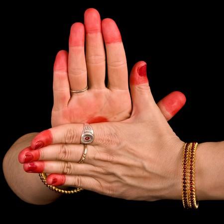 Woman hand showing Chakra  hasta of indian classic dance Bharata Natyam photo