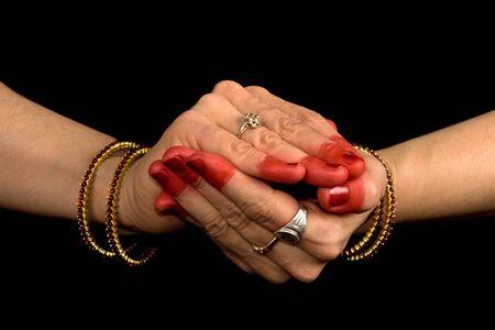 Woman hands showing Samputa hasta of indian classic dance Bharata Natyam photo