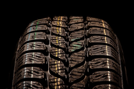 winter tyre: New car tire close up Stock Photo