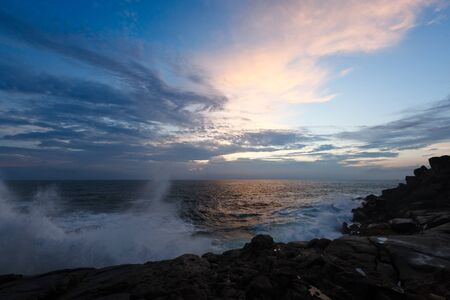 Rocky coast at sunset. Unawatuna, Sri Lanka Stock Photo - 8863053