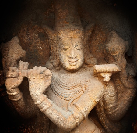lord vishnu: Krishna bas relief in Hindu temple. Sri Ranganathaswamy Temple. Tiruchirappalli (Trichy), Tamil Nadu, India