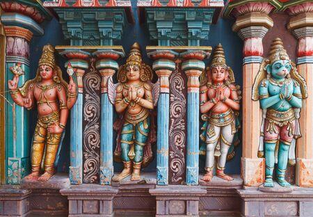 bas relief: Hanuman statues in Hindu Temple. Sri Ranganathaswamy Temple. Tiruchirappalli (Trichy), Tamil Nadu, India