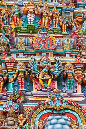 Kali image. Sculptures on Hindu temple gopura (tower). Menakshi Temple, Madurai, Tamil Nadu, India photo