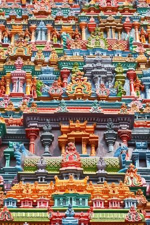 south india: Sculptures on Hindu temple gopura (tower). Menakshi Temple, Madurai, Tamil Nadu, India