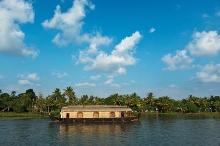 backwaters: Traditional house boat on Kerala backwaters. Kerala, India Stock Photo