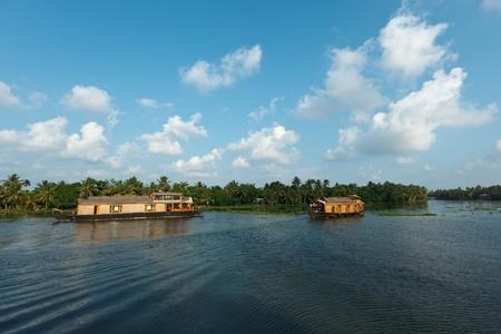 backwaters: Traditional house boats on Kerala backwaters. Kerala, India