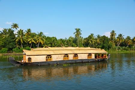 backwaters: Houseboat on Kerala backwaters. Kerala, India Stock Photo