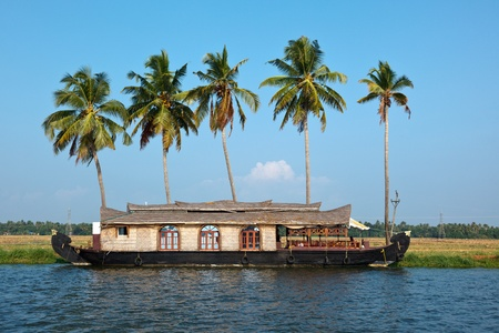 Traditional houseboat on Kerala backwaters. Kerala, India photo
