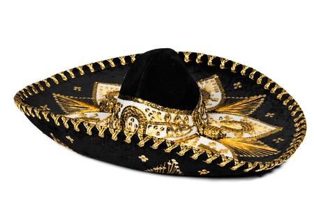 mariachi: Zwarte Mexicaanse sombrero uit Mexico geïsoleerd op witte achtergrond