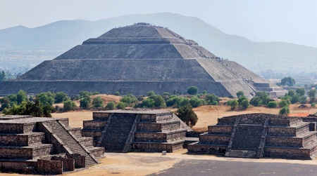 Panorama of Pyramid of the Sun. Teotihuacan. Mexico. View from the Pyramid of the Moon. photo