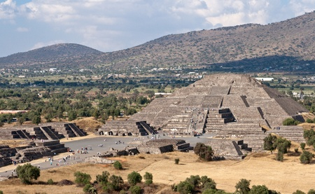 Pyramid of the Moon. View from the Pyramid of the Sun. Teotihuacan, Mexico photo