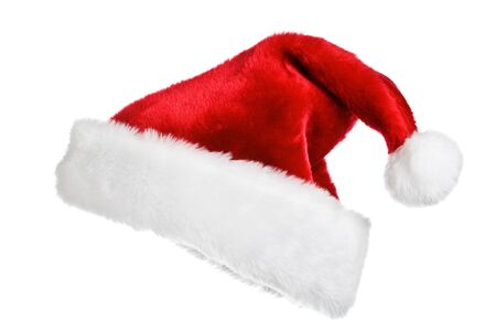 Santas red hat isolated on white Stock Photo