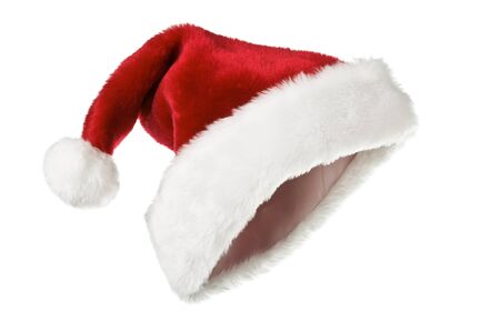 santa: Santas red hat isolated on white Stock Photo