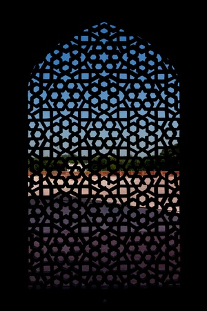 Marble carved screen window at Humayuns Tomb, Delhi, India
