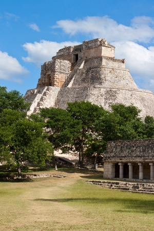mesoamerica: Anicent mayan pyramid (Pyramid of the Magician, Adivino  ) in Uxmal, Mérida, Yucatán, Mexico