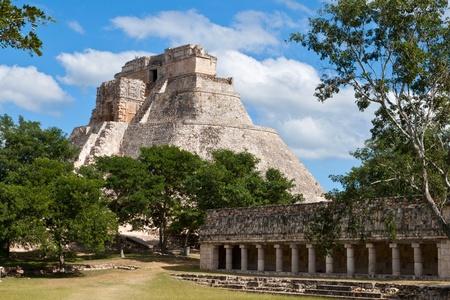 Anicent mayan pyramid (Pyramid of the Magician, Adivino  ) in Uxmal, Mérida, Yucatán, Mexico Stock Photo