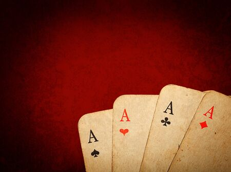 Four old cards (aces) close up Stock Photo - 9091581