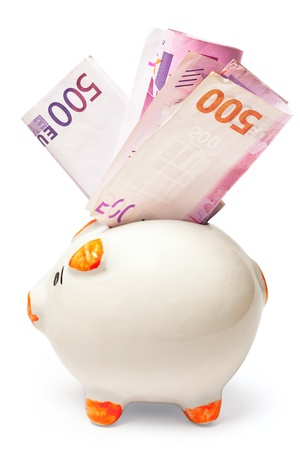 White piggy bank stuffed with euro isolated on white background Stock Photo - 9246558