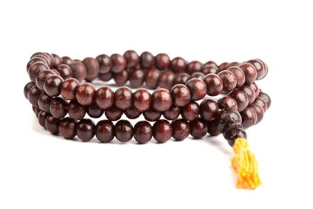 Japa Mala - Buddhist or Hindu prayer beadsi solated on white photo