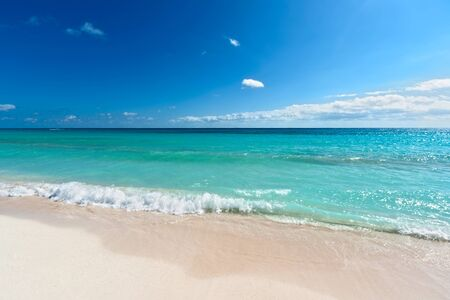riviera maya: Beautiful beach and  waves of Caribean Sea. Riviera Maya, Mexico