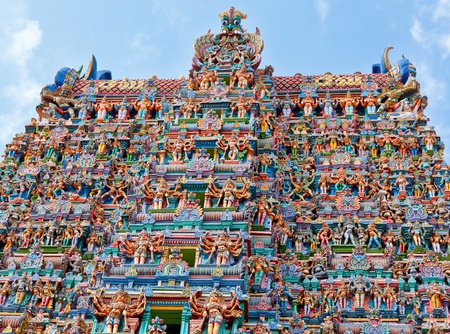 Hindu temple gopura (tower). Menakshi Temple, Madurai, Tamil Nadu, India photo