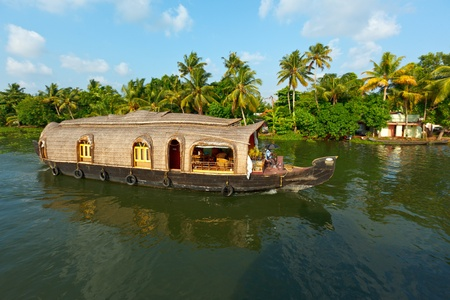 kerala: Houseboat on Kerala backwaters. Kerala, India Stock Photo