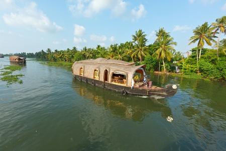 kerala backwaters: Houseboat on Kerala backwaters. Kerala, India Stock Photo