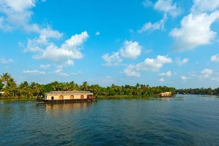 houseboat: Houseboat on Kerala backwaters. Kerala, India Stock Photo